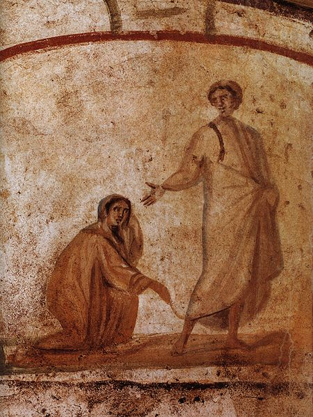 Jesus heals the bleeding woman; 4th century image from the catacombs of Marcellinus and Peter, Rome.