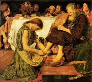 Jesus washes the feet of his disciple Peter.