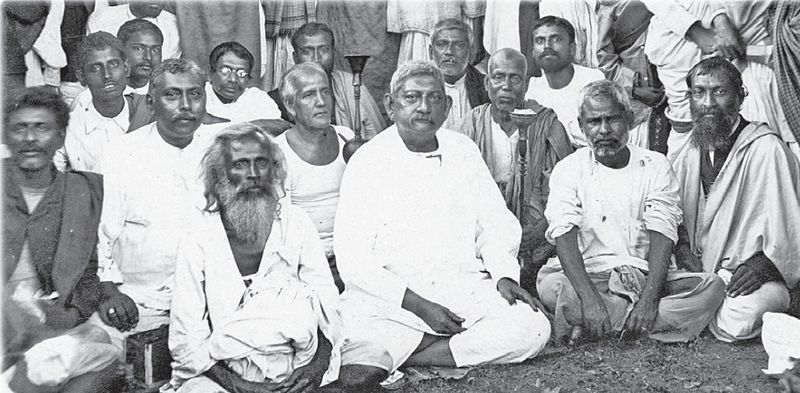 Girish Chandra Ghosh, first row, second from left, with fellow disciples of Ramakrishna.