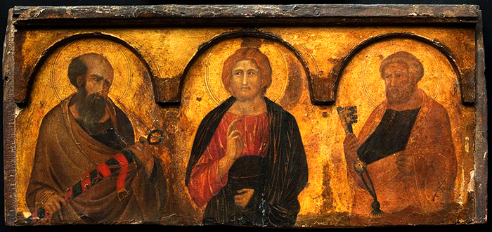 Christ between Saints Peter and Paul, Pietro Lorenzetti c. 1320.