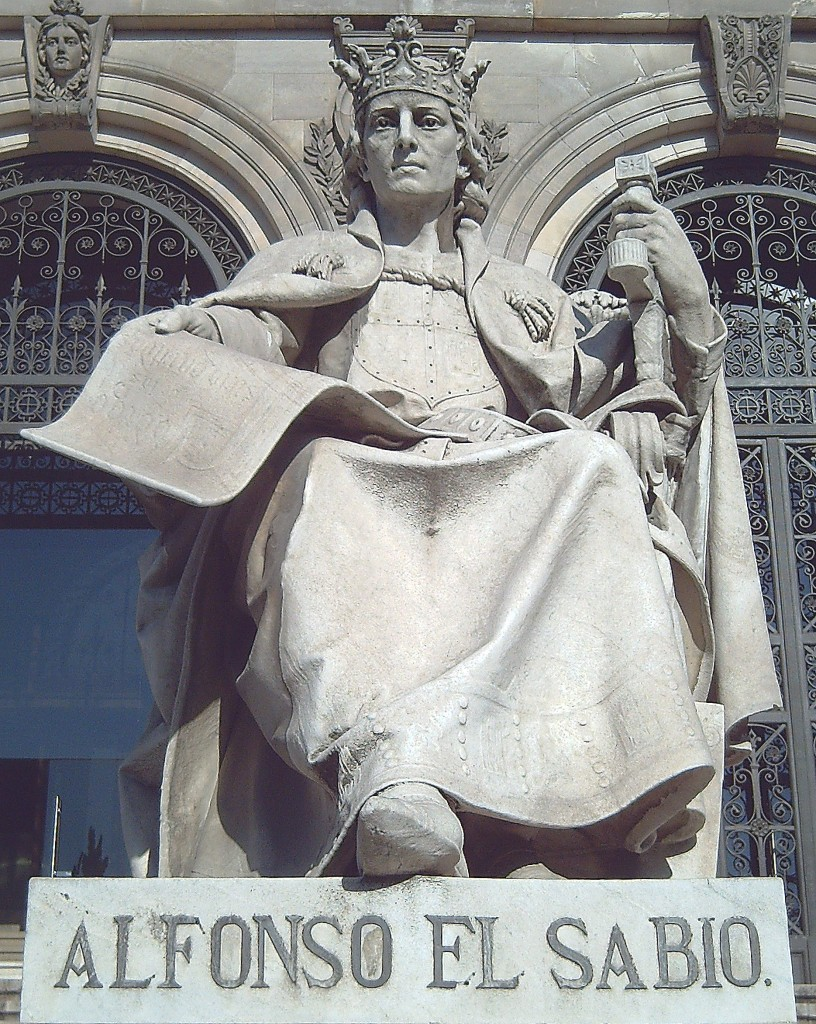 """King Alfonso X (""""The Wise""""), statue in Madrid by Jose Alcoverro, 1892"""