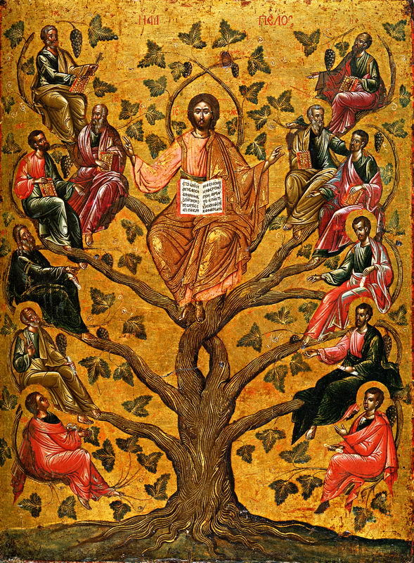 Christ the True Vine — 16th century Greek icon. Click to enlarge.