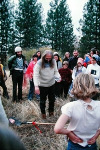 Swami Kriyananda blesses the ground where the first building of the Expanding Light retreat will be constructed at Ananda Village, late 1970s. (Click to enlarge.)