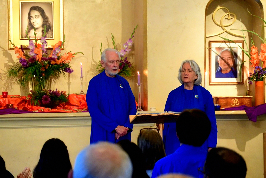The spiritual directors of Ananda, Nayaswamis Jyotish and Devi, perform the Festival of Light during Sunday service at Ananda Sangha in Palo Alto.