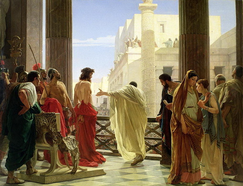 """Behold the Man."" Pontius Pilate presents the scourged Jesus to the masses in an attempt to find a way to set him free. Painting by Antonio Ciseri. (Image source: Wikimedia Commons.)"