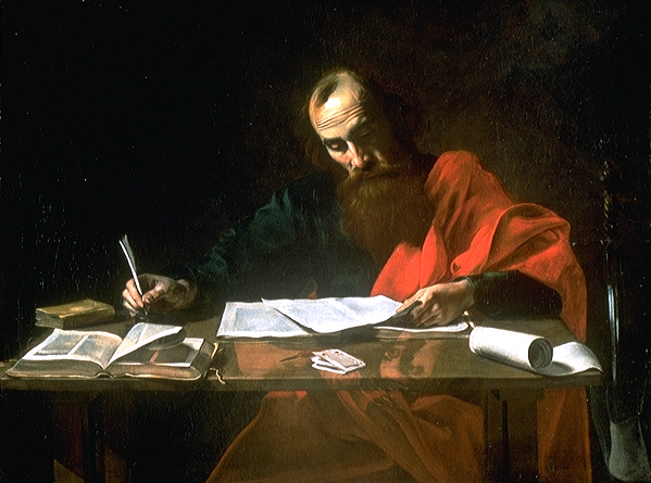 St. Paul Writing His Epistles, by Valentin de Boulogne