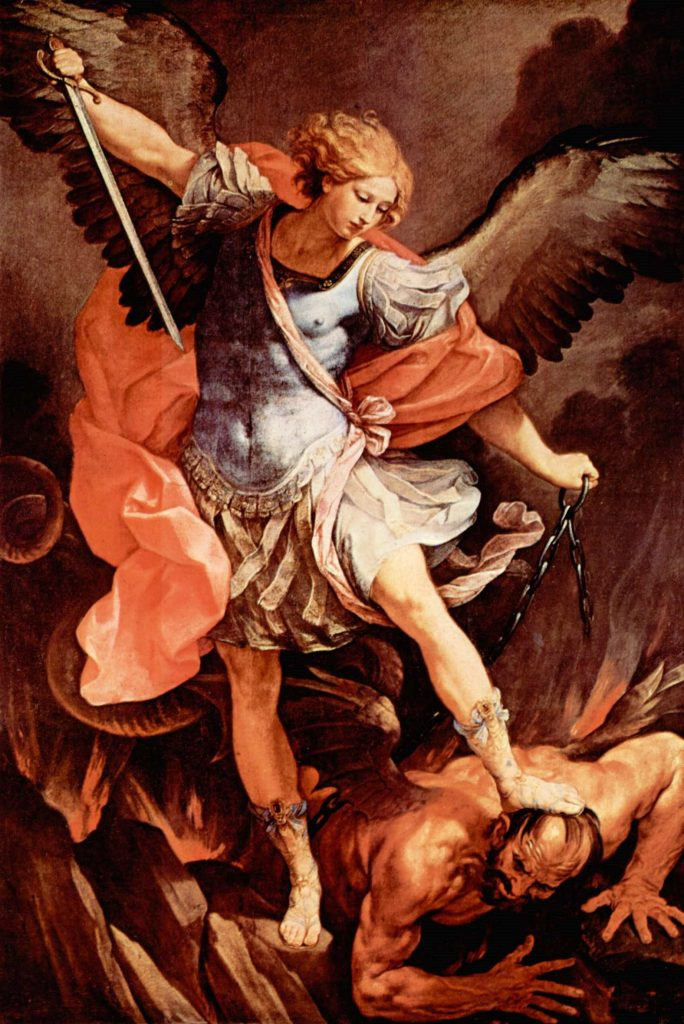 The Archangel Michael battling Satan, by Guido Reni. (Creative Commons License.)