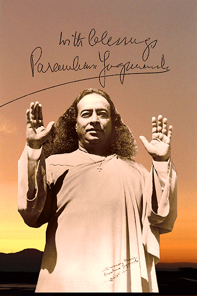 """Paramhansa Yogananda sends his blessings """"into the ether, in the spirit of God"""" for the creation of spiritual communities such as Ananda."""