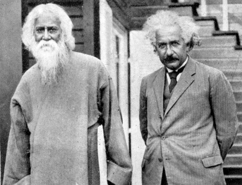Einstein meets Rabindranath Tagore in Berlin, July 14, 1930. The heart and the mind are complementary paths to truth. Click to enlarge.