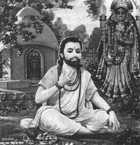 Sri Ramprasad Sen, joyful devotee of God. Ramprasad sang: Taking the name of Kali, Dive deep, O mind, Into the heart's fathomless depths, Where many a gem lies hid Dive deep and make your way To Mother Kali's realm.