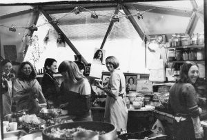 Nuns serving in the kitchen. L-R: Prita, Asha, Kalyani, Arati, Anandi.