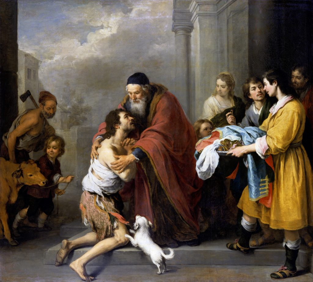 Bartolomé Esteban Murillo (Spanish, 1617 - 1682), The Return of the Prodigal Son, 1667/1670. Click to enlarge.