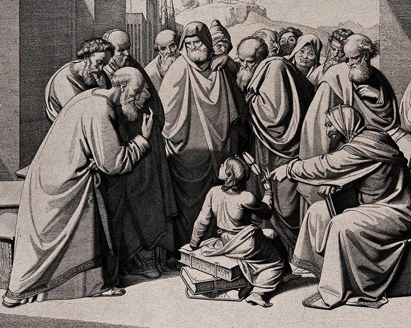 The young Jesus debates with the scholars. Etching by Filippo Severati after J.F. Overbeck, c. 1850.
