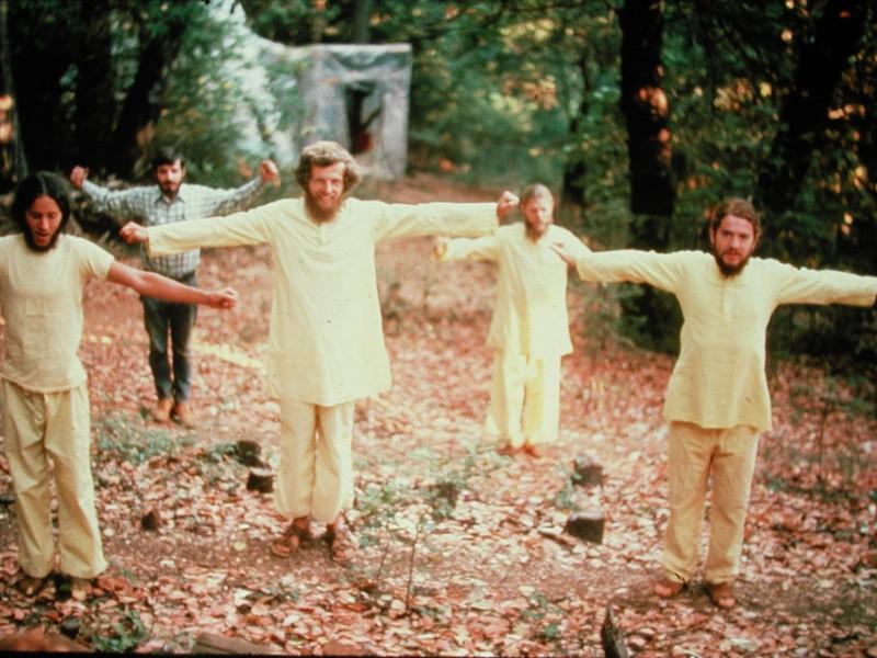 Ananda monks doing Paramhansa Yogananda's energization exercises, early 1970s.