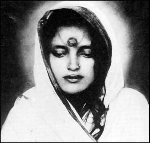 "Anandamoy Ma, the ""Bliss-Permeated Mother"" whose life Yogananda tells in Autobiography of a Yogi. Click to enlarge."
