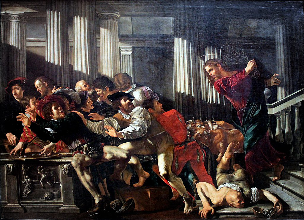 Caravaggio: Christ drives the money changers from the temple.