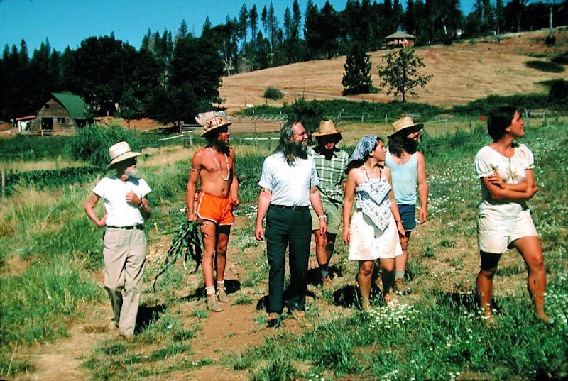 A historic photo, taken circa 1977-78. L-R: Haanel Cassidy, formerly a famous commercial photographer for the Conde Nast magazine publishing empire, who guided the development of the garden at Ananda Village; Ananta McSweeney; Swami Kriyananda; Govinda Frutos; Shivani; James Robinson; Maria McSweeney. Click to enlarge.