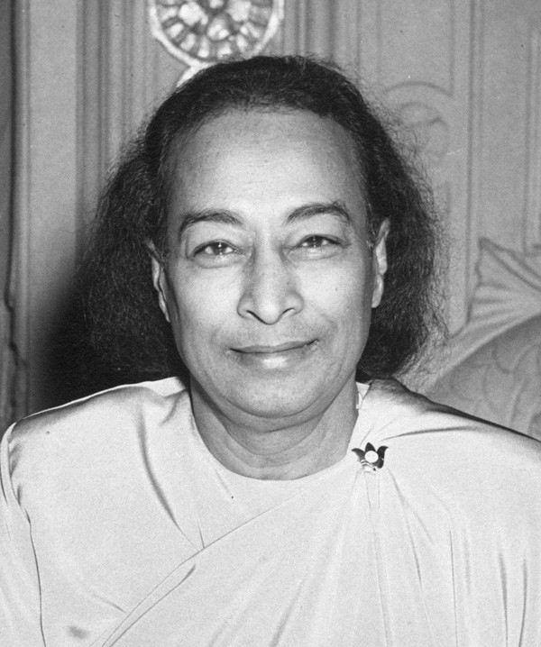 """""""The Last Smile"""" — photo taken by Los Angeles Times photographer an hour before Paramhansa Yogananda's mahasamadhi, Biltmore Hotel, Los Angeles, March 7, 1952. Click photos to enlarge."""