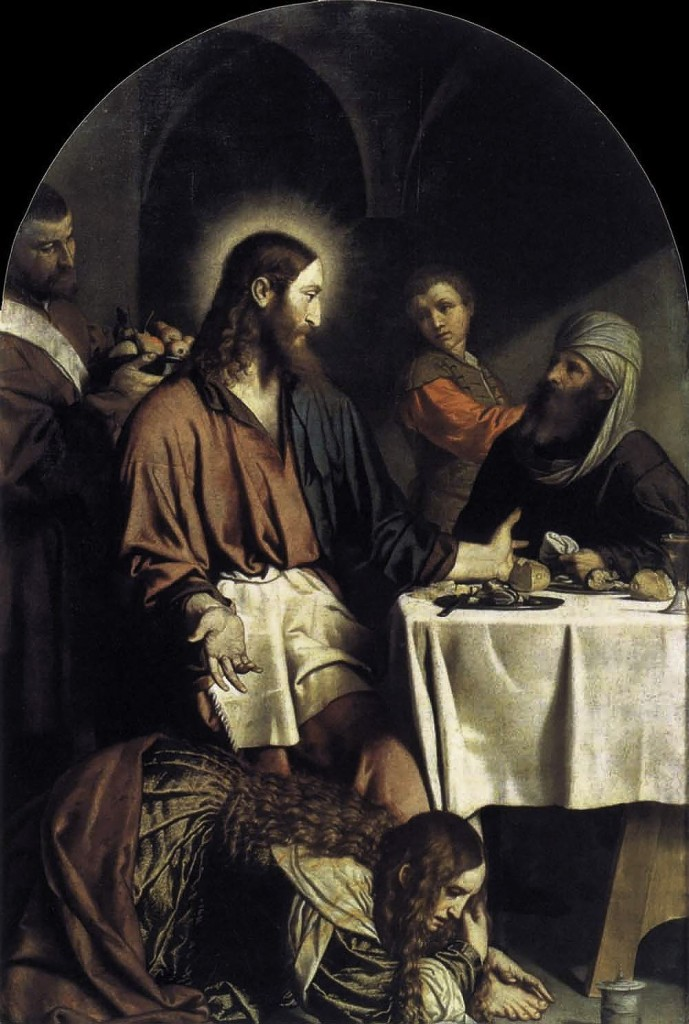 Mary Magdalene dries Jesus' feet with her hair. <em>Unknown Russian artist</em>