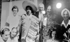 Paramhansa Yogananda with his first American disciple, Dr. Lewis, Mrs. Lewis, and others.