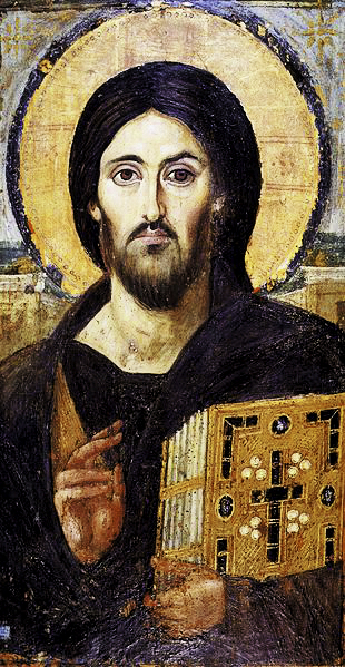 "Christ Pantocrator ""Ruler of All""), the earliest extant Christian icon, from the 6th century. One side of Christ's face shows his divine aspect, the other his human manifestation. St. Catherine's Monastery, Sinai, Egypt."