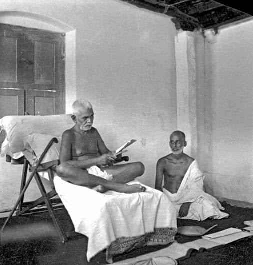 Ramana Maharshi with Yogi Ramiah