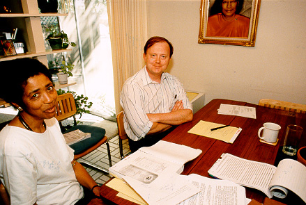 Nayaswami Naidhruva and Jon Parsons, the attorneys who defended Ananda against the SRF lawsuit.