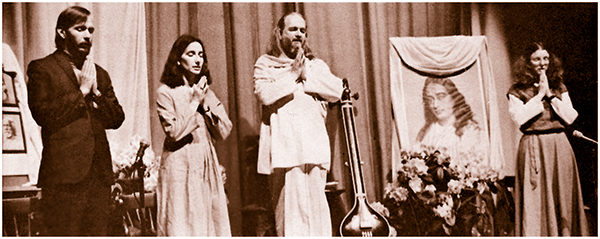 Swami Kriyananda with Jyotish, Devi, and Asha