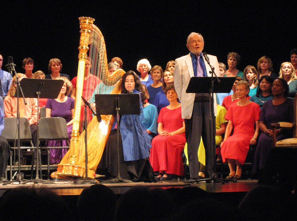 """Swami Kriyananda sings a solo in a performance of the oratorio """"Christ Lives,"""" at the Civic Auditorium in San Jose, CA."""