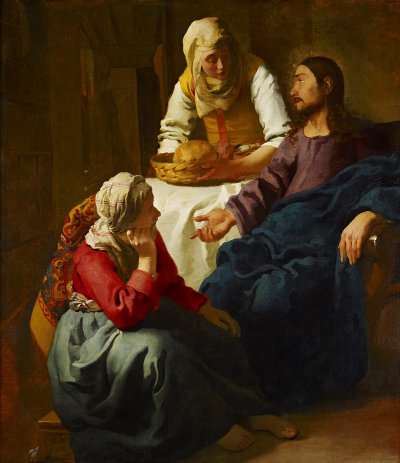 Jesus in the house of Mary and Martha. Johannes Vermeer.