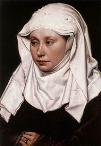 For fun — here is a wimple, as shown in Portrait of a Woman, circa 1430-1435, by Robert Campin (1375/1379–1444), National Gallery, London. The cloth is 4-ply and the pins holding it in place are visible at the top of the head