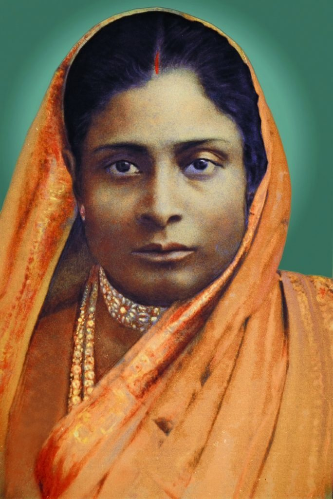 Photo of Yogananda's mother (colorized); click to enlarge