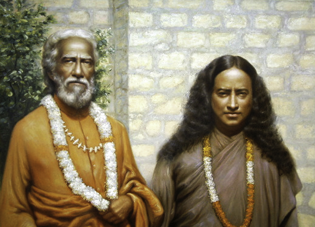 "Paramhansa Yogananda with his guru, Sri Yukteswar. ""I killed Yogananda long ago,' the Master said. ""No one dwells in this temple now but God."" Click to enlarge."